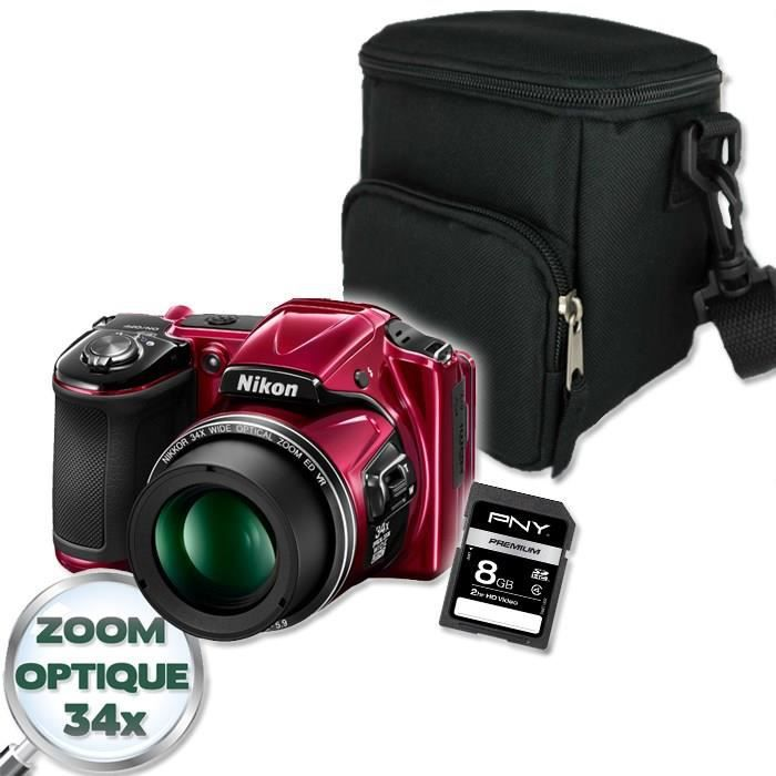 PACK APPAREIL BRIDGE NIKON L830 Bridge Rouge + Etui + SD 8 Go