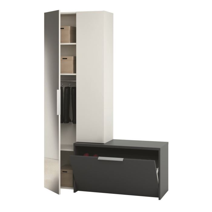 madrid vestiaire 170cm noir et blanc miroir achat vente meuble d 39 entr e madrid vestiaire. Black Bedroom Furniture Sets. Home Design Ideas