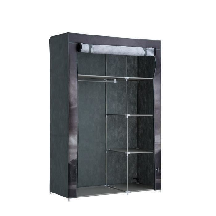 armoire penderie souple nomade 50 en tissu noir 105x45x158 cm achat vente penderie souple. Black Bedroom Furniture Sets. Home Design Ideas