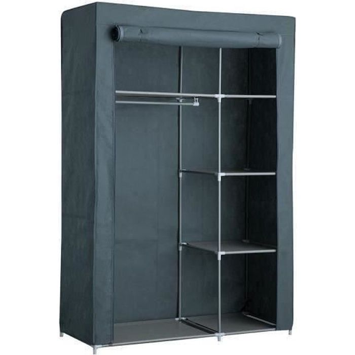 armoire penderie souple nomade 50 en tissu gris 105x45x158. Black Bedroom Furniture Sets. Home Design Ideas