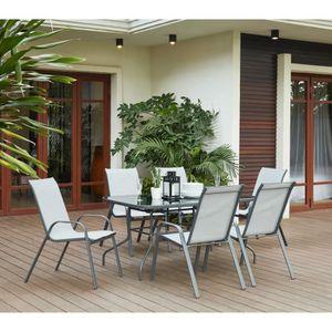 Ensemble table et chaise de jardin KIRIBATI Ensemble repas de jardin - table 150x90cm