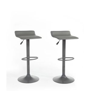 Lot de 2 tabourets de bar gris achat vente lot de 2 tabourets de bar gris - Lot de tabouret de bar ...