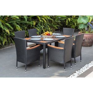 SALON DE JARDIN  PARIS Ensemble table avec plateau en acacia et 6 f