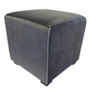 POUF - POIRE Pouf carré velours Harry - 35 x 35 cm - Gris anthr