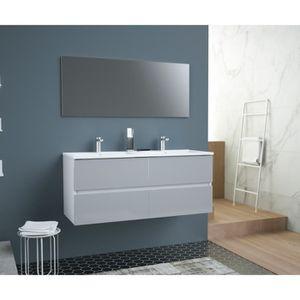 SALLE DE BAIN COMPLETE TOTEM Salle de bain 120cm - Gris - 4 tiroirs ferme