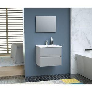 SALLE DE BAIN COMPLETE TOTEM Salle de bain 60cm - Gris - 2 tiroirs fermet