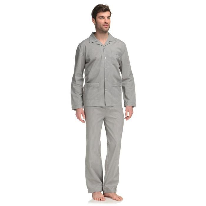 bronzini pyjama homme gris et blanc achat vente chemise de nuit cdiscount. Black Bedroom Furniture Sets. Home Design Ideas
