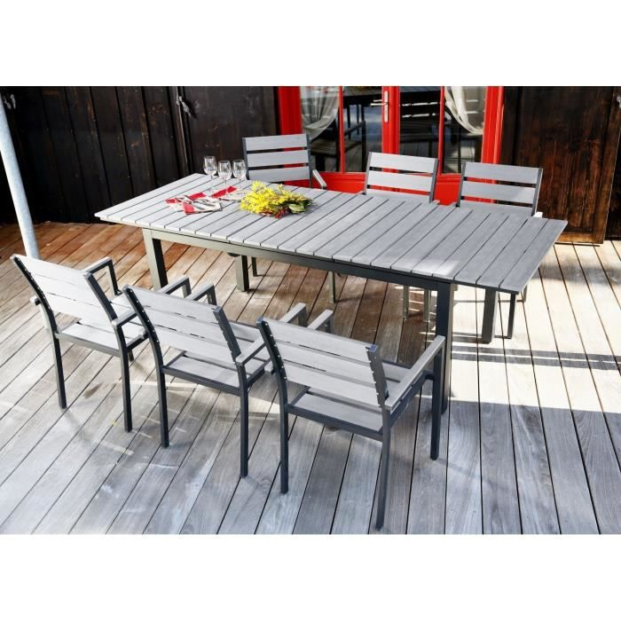 Ensemble table extensible de jardin 180 240 cm 6 for Table extensible 80 cm de large
