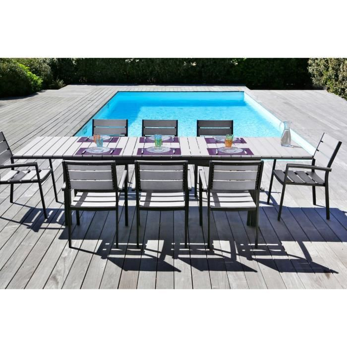 Ensemble table extensible de jardin 200 300 cm 8 for Table extensible 80 cm de large