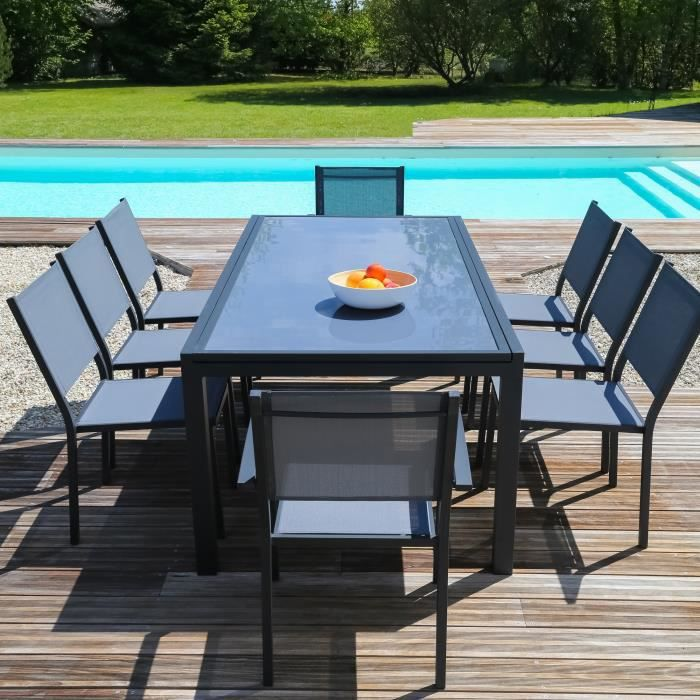 Ensemble table extensible de jardin 200 300 cm 8 for Ensemble table en verre et chaises