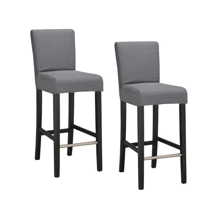 elvis lot de 2 tabourets de bar en tissu gris achat vente chaise structure en bois. Black Bedroom Furniture Sets. Home Design Ideas