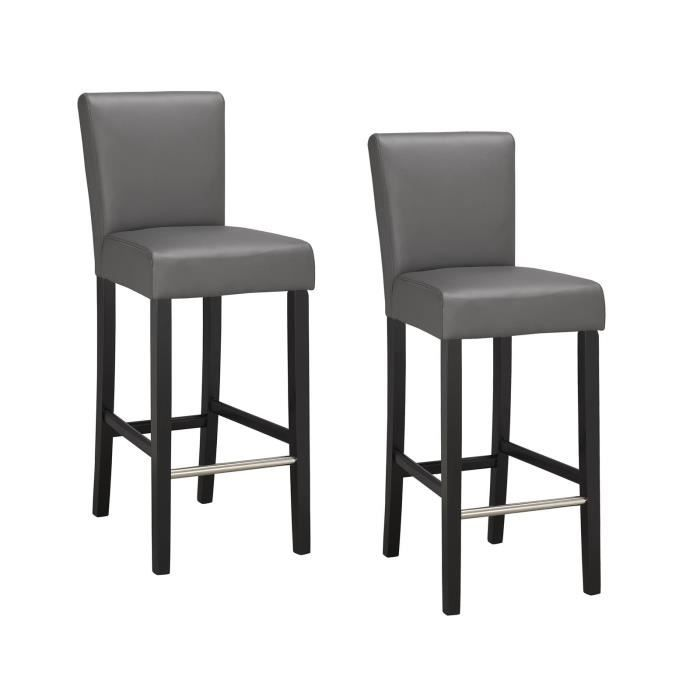 Elvis lot de 2 chaises de bar grises achat vente for Chaise de bar transparente