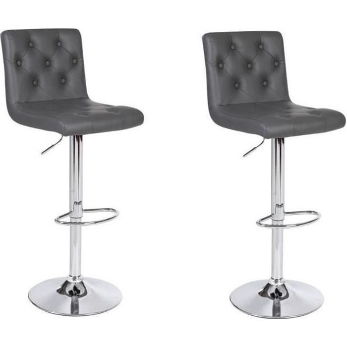 chester lot de 2 tabourets de bar en simili gris achat vente tabouret de bar gris structure. Black Bedroom Furniture Sets. Home Design Ideas