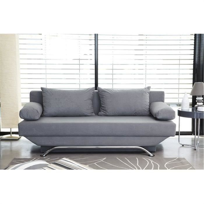 boston banquette convertible 3 places 190x192x84 cm tissu microfibre gris achat vente. Black Bedroom Furniture Sets. Home Design Ideas