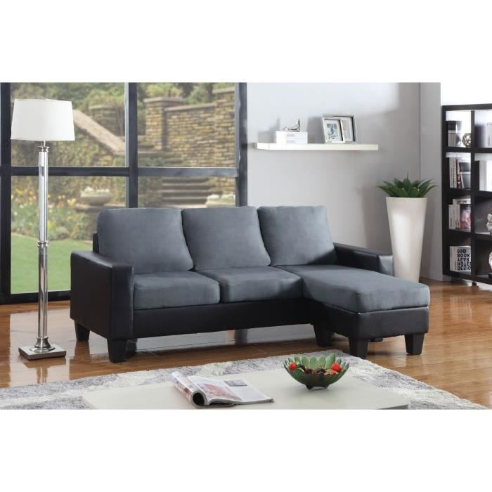 brazil canap simili 3 places pouf 193x75x70 cm gris et noir achat vente canap sofa. Black Bedroom Furniture Sets. Home Design Ideas