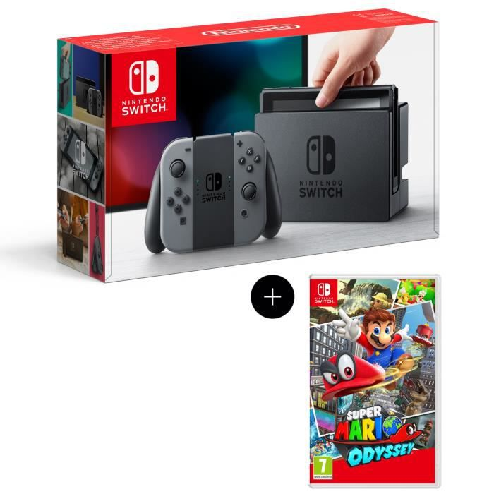 console nintendo switch avec paire de joy con gris super mario odyssey achat vente console. Black Bedroom Furniture Sets. Home Design Ideas