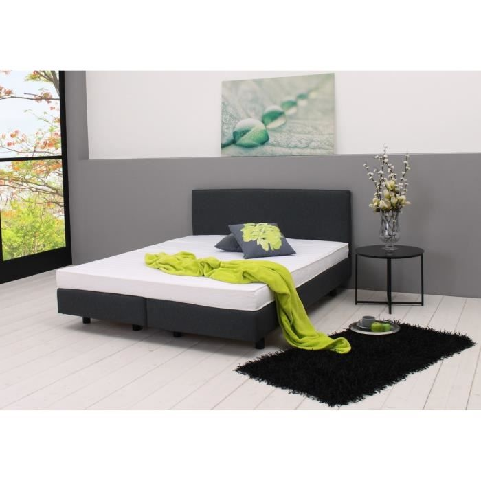 sleepgood lit sommier matelas 140x200cm gris moncornerdeco. Black Bedroom Furniture Sets. Home Design Ideas