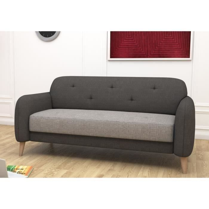 clemm canap droit 3 places sawana anthracite gris achat vente canap sofa divan tissu. Black Bedroom Furniture Sets. Home Design Ideas