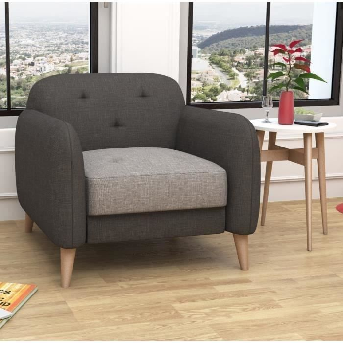 clemm fauteuil sawana anthracite gris achat vente fauteuil 100 polyester cdiscount. Black Bedroom Furniture Sets. Home Design Ideas