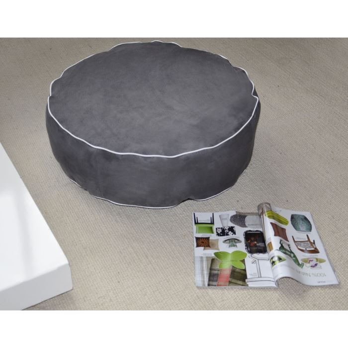 pouf coussin de sol rond gris tea achat vente pouf poire microfibre 100 polyester cdiscount. Black Bedroom Furniture Sets. Home Design Ideas