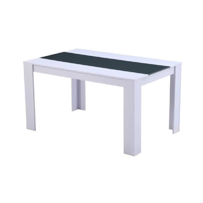 Damia table de s jour 140 cm blanc gris achat vente for Table cuisine 140 x 90