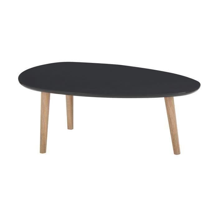 Galet table basse 88 cm laqu e grise achat vente table basse galet table - Table basse laquee grise ...