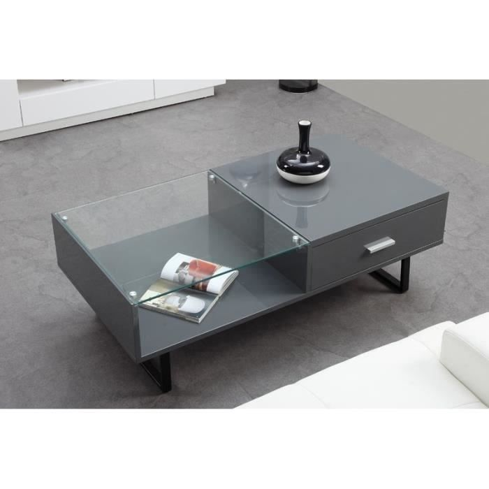 gloss table basse rectangulaire 120cm verre gris achat vente table basse gloss table basse. Black Bedroom Furniture Sets. Home Design Ideas