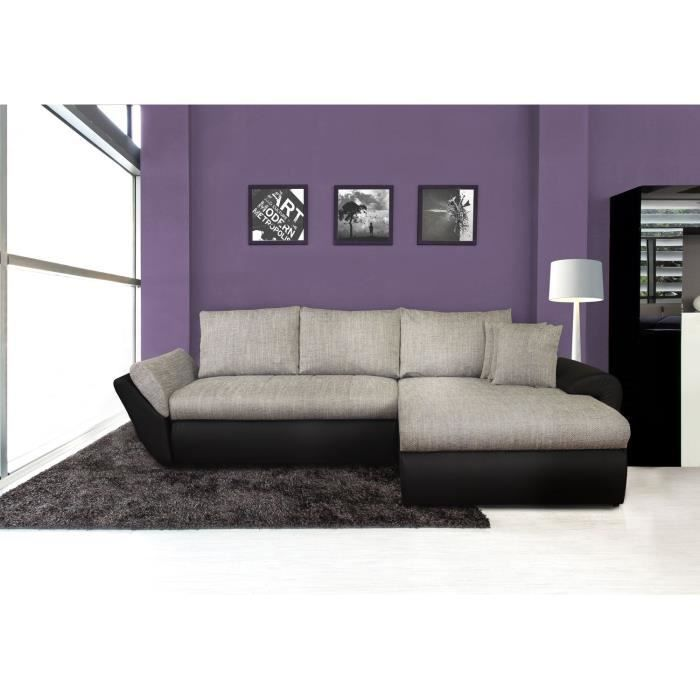 lolita canap xxl convertible lit angle droit noir gris. Black Bedroom Furniture Sets. Home Design Ideas
