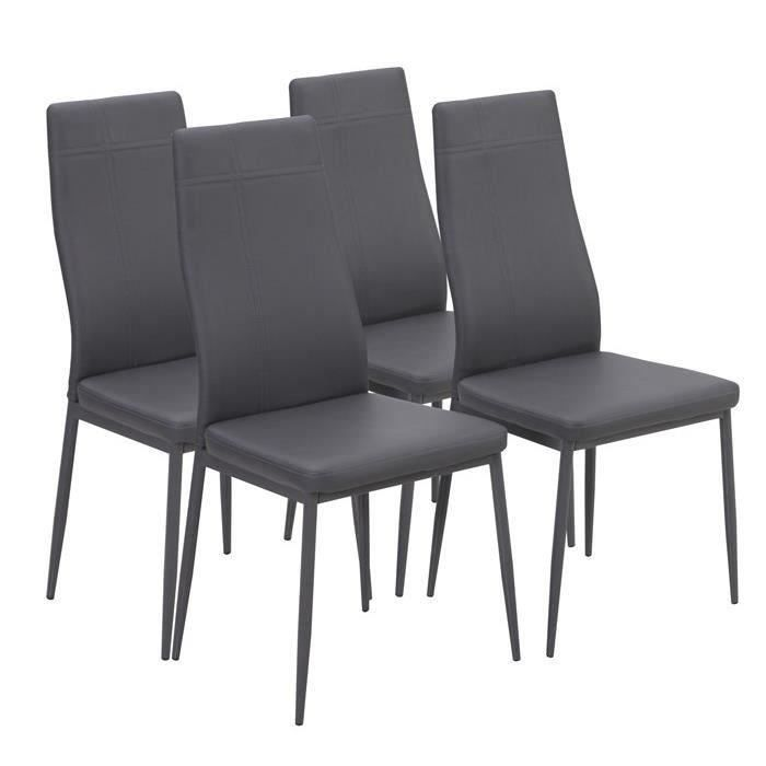 mat lot de 4 chaises de salle manger simili gris meubles bon prix moncornerdeco. Black Bedroom Furniture Sets. Home Design Ideas