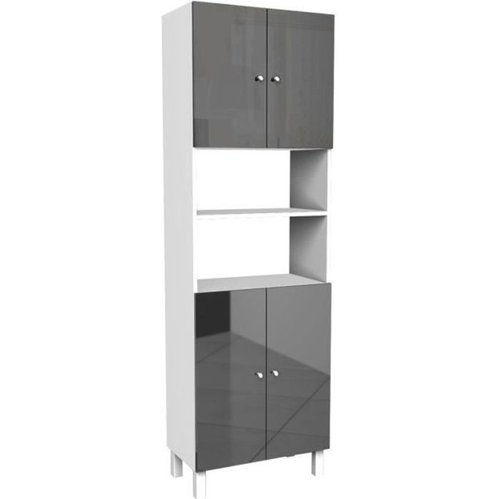 corail armoire de salle de bain 60 cm gris haute brillance achat vente colonne armoire. Black Bedroom Furniture Sets. Home Design Ideas