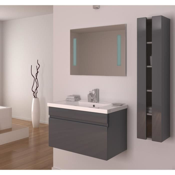 alban salle de bain compl te simple vasque 80 cm gris brillant achat vente salle de bain. Black Bedroom Furniture Sets. Home Design Ideas