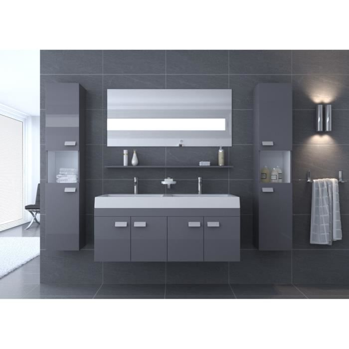 alpos salle de bain compl te double vasque 120 cm gris brillant achat vente salle de bain. Black Bedroom Furniture Sets. Home Design Ideas