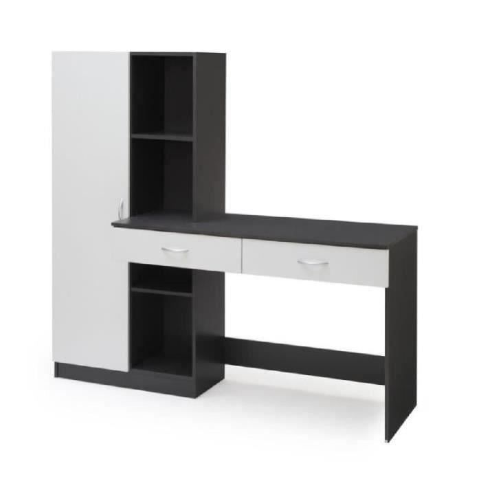 Optim bureau contemporain d cor blanc et gris l 160 cm for Meuble bureau contemporain