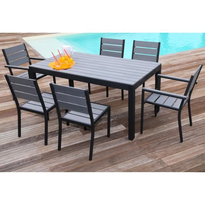 floride salon de jardin table l 160 cm 2 fauteuils 4 chaises en aluminium et polywood. Black Bedroom Furniture Sets. Home Design Ideas