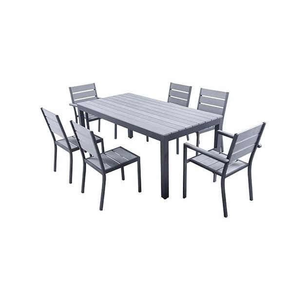MIKONOS Ensemble table de jardin en aluminium 6 places - Gris clair ...