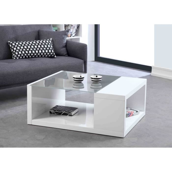 Rubic table basse laque blanc verre gris achat vente table basse rubic - Table salon cdiscount ...