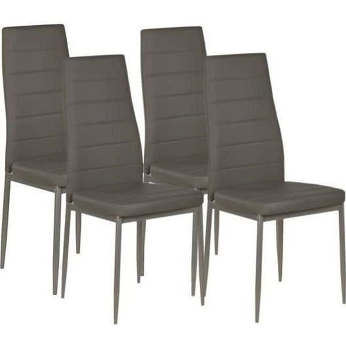 vogue lot de 4 chaises de salle manger en sim achat vente chaise gris structure en. Black Bedroom Furniture Sets. Home Design Ideas