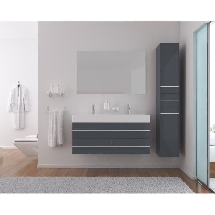 loft salle de bain compl te double vasque 120cm gris brillant achat vente salle de bain. Black Bedroom Furniture Sets. Home Design Ideas