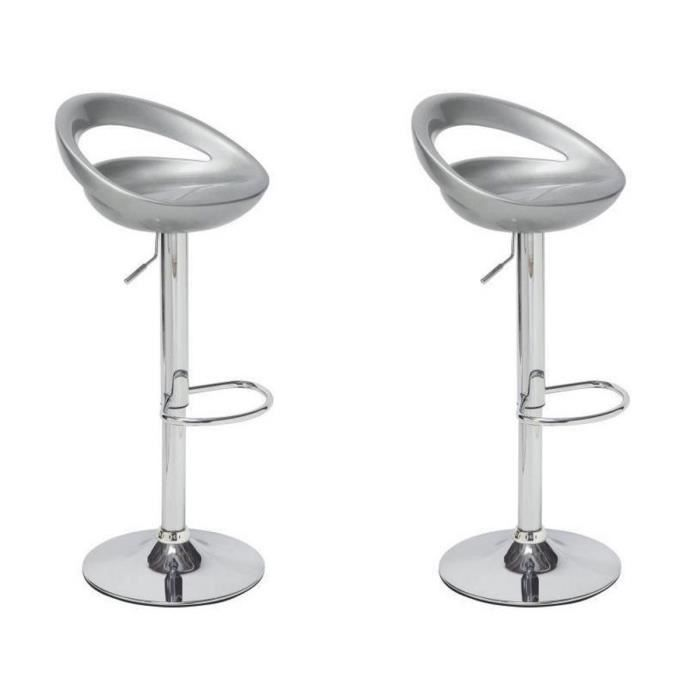 moon lot de 2 tabourets de bar r glables gris achat. Black Bedroom Furniture Sets. Home Design Ideas