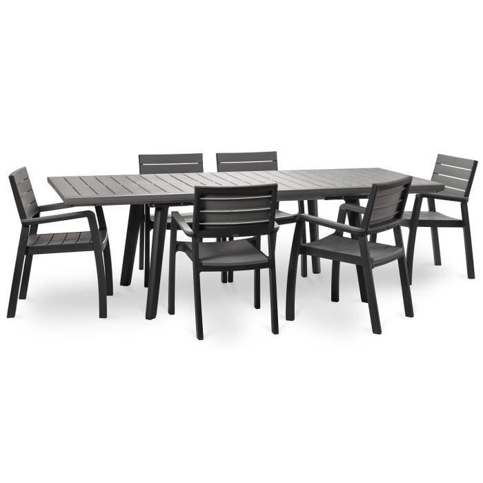 Keter Ensemble Harmony Extension Table 160 240cm 6 Fauteuils Graphite Achat Vente Salon