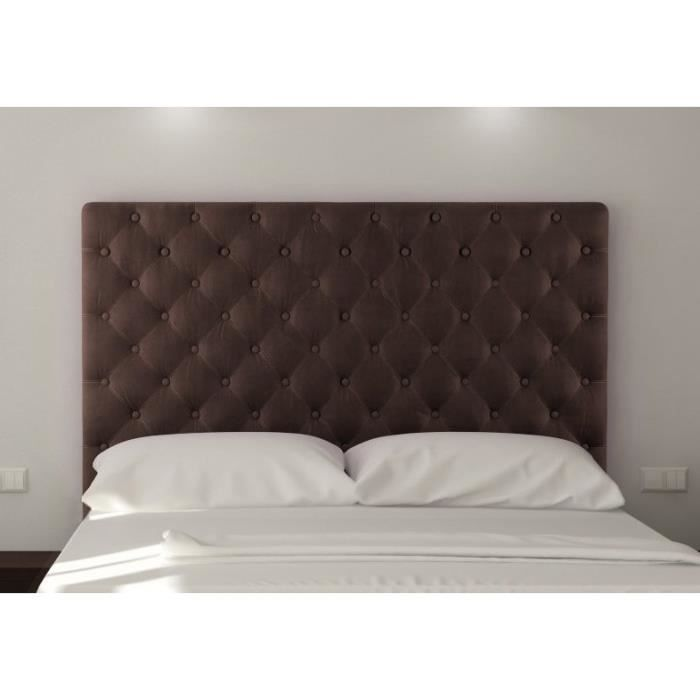 sogno t te de lit capitonn e 160 cm tissu marron achat vente t te de lit sogno t te de lit. Black Bedroom Furniture Sets. Home Design Ideas