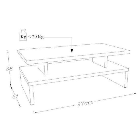 Table style l et x contemporain satiné blanc cm noir 51 L AFTER 97 basse 8wnmN0