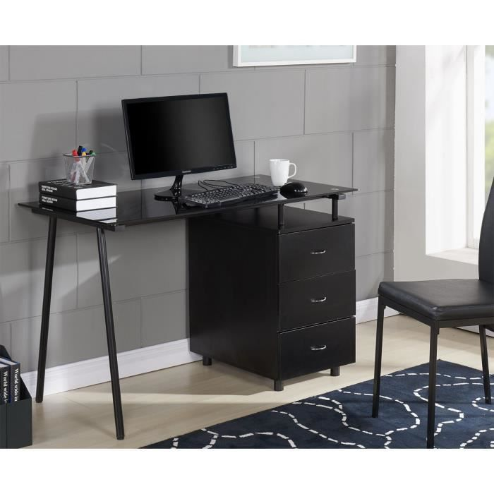 cyber bureau adulte contemporain mdf plateau en verre et. Black Bedroom Furniture Sets. Home Design Ideas