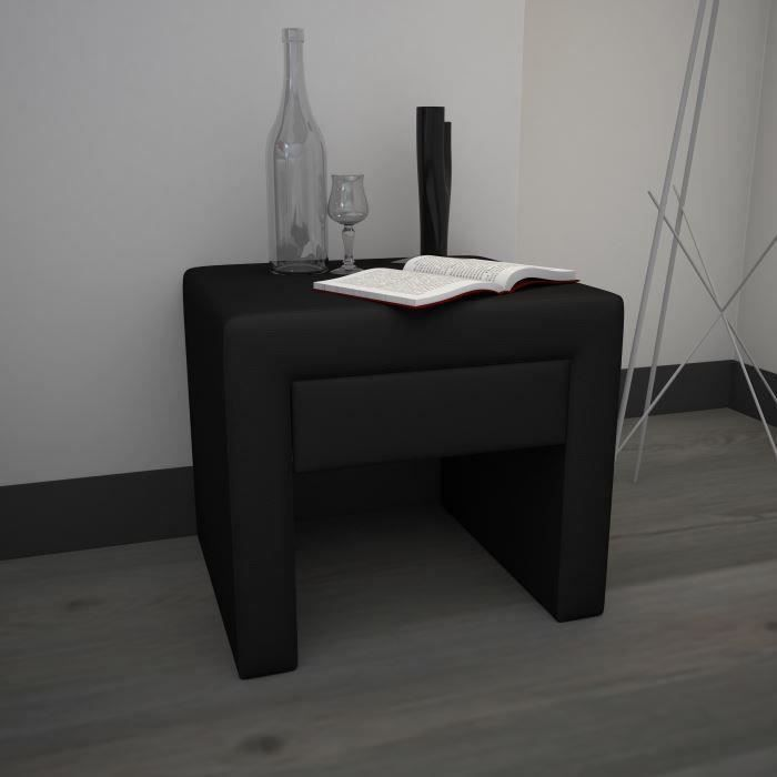 finlandek chevet pass tiroir en pu noir achat vente. Black Bedroom Furniture Sets. Home Design Ideas