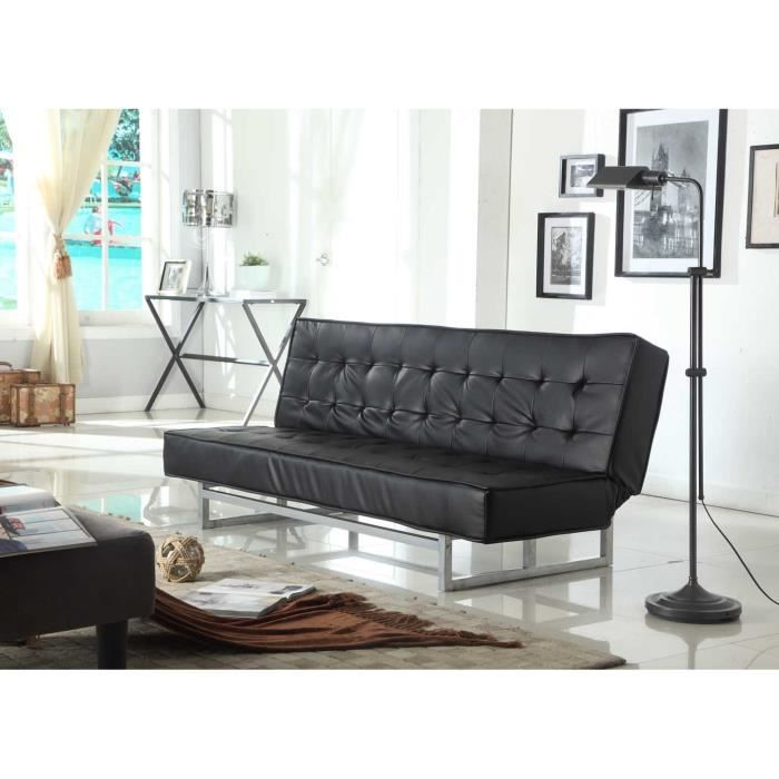 foster banquette clic clac convertible simili et pvc 3 places 181x82x79 cm noir achat. Black Bedroom Furniture Sets. Home Design Ideas