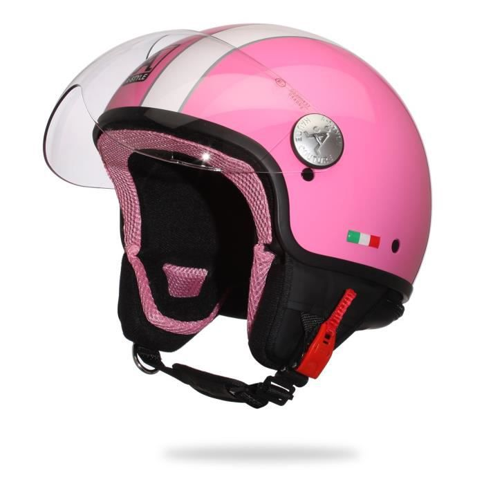 casque de scooter rose achat vente casque de scooter. Black Bedroom Furniture Sets. Home Design Ideas