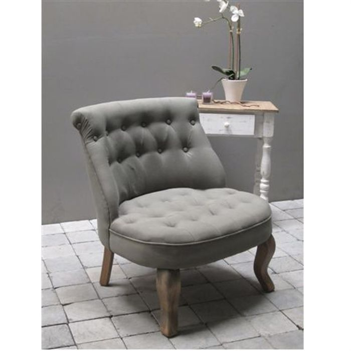 fauteuil crapaud gris tissu 100 coton achat vente. Black Bedroom Furniture Sets. Home Design Ideas