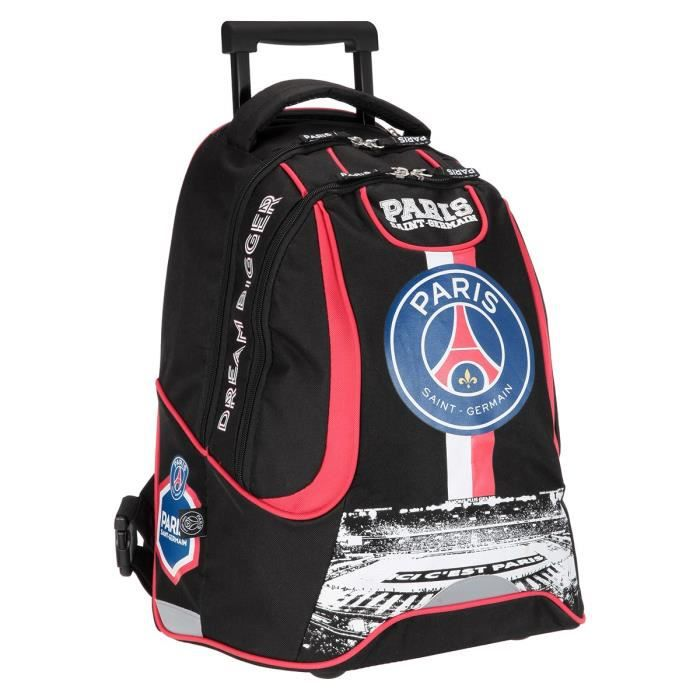 paris saint germain sac dos borne scolaire roulettes 2 compartiments adolescent 47cm. Black Bedroom Furniture Sets. Home Design Ideas