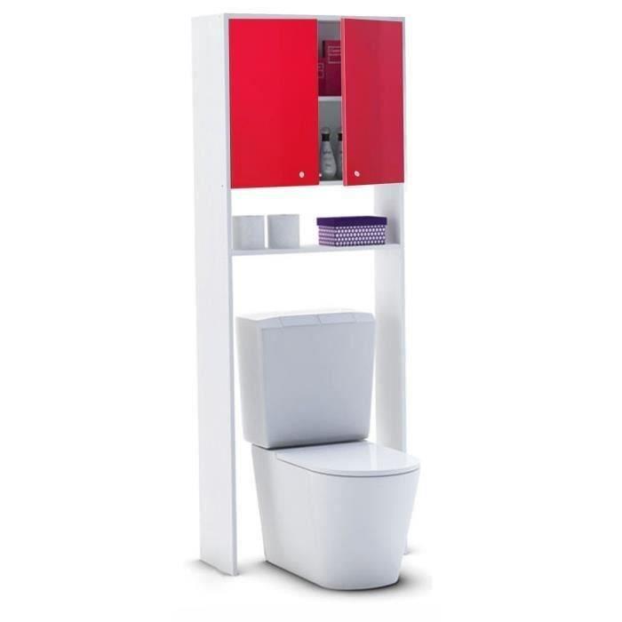COLONNE - ARMOIRE WC CORAIL Meuble WC ou machine à laver L 63 cm - Roug