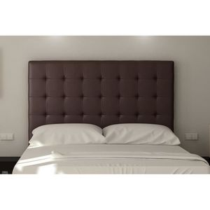 TÊTE DE LIT SOGNO Tête de lit capitonnée - Simili marron - L 1